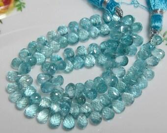 "5"" Strand - Sparkling Transparent High Quality Aqua Blue APATITE Faceted Teardrop Briolettes"