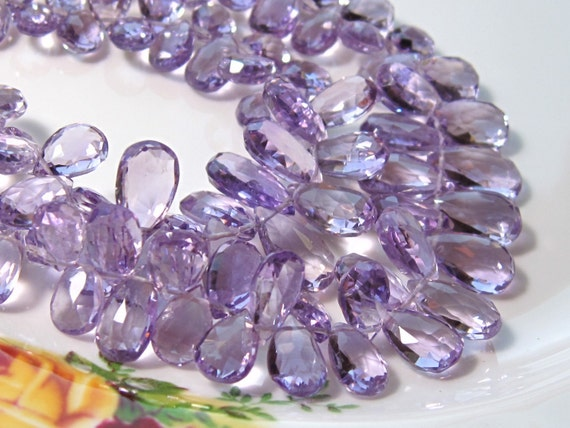 "Half Strand - AAA Pink AMETHYST Faceted Pear Briolettes - 4"" Strand"