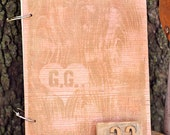 Custom Initial Faux Bois Wood Notebook with Hand Carved Stamp
