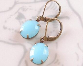 Robins Egg Blue Earrings Chalcedon Milk Glass Bridesmaid Gift Mod Retro 60s