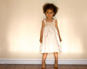 Organic Flower Girl Dress, Eco-friendly Wedding, size 2T (organic cotton), Fleur, Hand Crocheted Sun Dress in Natural, READY to Ship