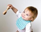 Organic Drooling Bib for Baby Boys, Eco Friendly Reversible Bib (Aqua and Sand Dollars), Child Gift under 25