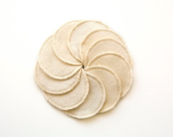 Facial rounds in organic cotton. 5 rounds in a gift bag. Facial pads for woman gift.