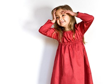 Red girl dress in organic coton sateen. Children Holiday dress with long sleeves in red, pink or white.