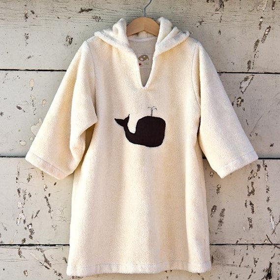 eco whale bathrobe with pixie hood size 4t eco friendly