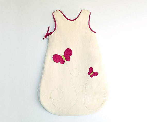Sleeping bag for baby, toddler girl bedding with  pink butterfly. Ecofriendly cotton