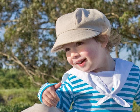Organic Newsboy Cap for Kids in Tan, Spring Clothing (organic cotton) Children gift under 50