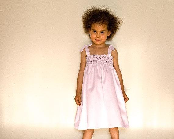 Pink Organic Dress, Flower Girl Dress in Pastel Pink, Hand Crocheted Organic Dress