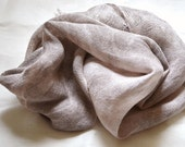 Hand Woven, Naturally Hand Dyed, Linen, Grey and White Scarf