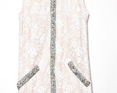 REZERVED for Marie-Champaigne lace dress with rhinestones trimmings- Anna dress