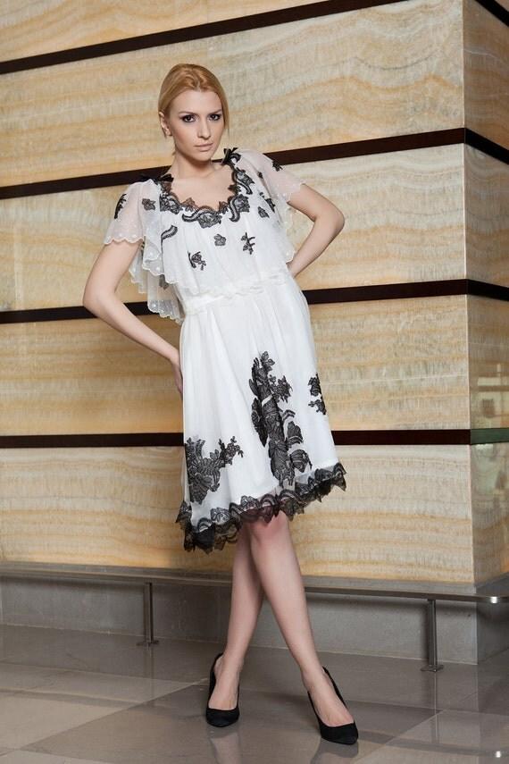 White silk chiffon dress with black Chantilly lace appliques-Lily dress