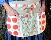 Half Apron, Santa Fe Style Utility Half Apron for Hostess, Crafting, Classroom in Terra Cotta, Biscuit & Turquoise- Vendor, Country Chic