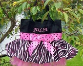 Girls Embroidered and Personalized Dance Bag with a Hot Pink and Zebra Skirt Tutu Tote Bag - STB20 F