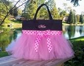Child's Embroidered dance bag, Princess tote bag, Naptime 21,  Black MINI Bag with Pink and Black Polka Dot Ribbon Tutu Tote Bag MTB900  EST