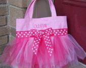 Pink Tote Bag with Shades of Pink Tulle and Pink Polka Dot Ribbon MINI Tutu Ballet Bag - MTB24 - D