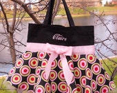 Embroidered Dance Bag - Black Bag with Pink and Green Skirt and Pink Ribbon Mini Tutu Tote Bag - MSTB44 - BP