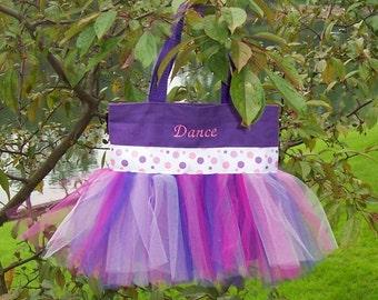 Embroidered dance bag - Purple Tote Bag with Purple and Pink Polka Dot Ribbon MINI Tutu Tote Bag - MTB7 - F