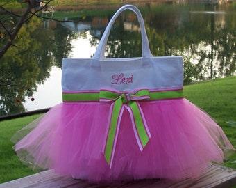 Tutu tote bag, dance bag, tutu tote, ballet bag, Embroidered Dance Bag White Bag with Bright Pink Tulle Tutu Tote Bag TB63 - BPT
