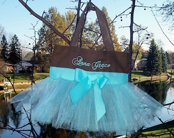 Tutu tote bag, Naptime 21, Embroidered Dance Bag,  Brown Bag with Aqua Blue Tulle and Ribbon Tutu Tote Bag - TB289 - EST