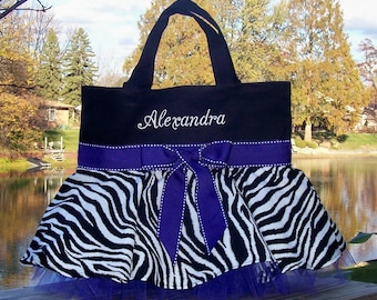 Embroidered dance bag - Black with black and White Zebra Skirt and Purple Ribbon Tutu Tote Bag - STB47 - BPT