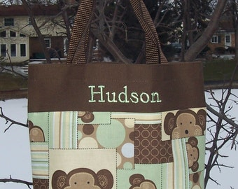 Dance bag, boys tote bag, Personalized tote bag, wedding gift, Embroidered Tote Bag - Brown Tote Bag with Monkey Fabric Tote Bag BTB11 RB