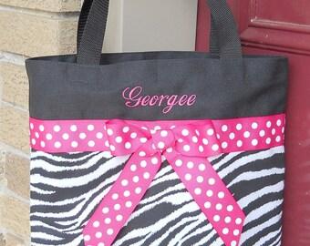 Black and White Zebra Embroidered Bag with Hot Pink Polka Dot RibbonTote Bag - TB58 - BP
