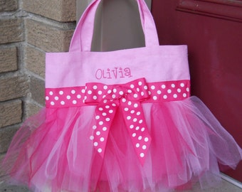Personalized ballet bag, Embroidered Dance Bag, Pink Tote Bag with Shades of Pink Tulle and Pink Polka Dot Ribbon Tutu Tote Bag - TB139 - D