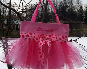 Embroidered Dance Bag - Pink Tote Bag with Pink Polka Dot Tutu Tote Bag - TB66