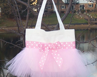 Embroidered dance bag - White Tote Bag with Pink Polka Dot Ribbon and tulleTutu Tote Bag - TB84