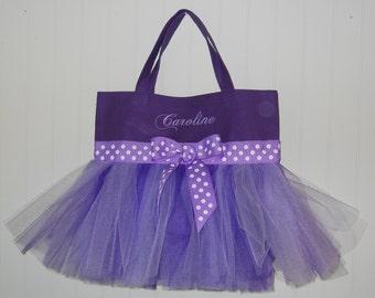 Embroidered Tutu Bag, Child's dance bag, tutu tote bag, Purple tote bag, dance bags, gift tote, tutu ballet bag, MINI Tutu Tote Bag MTB31 E