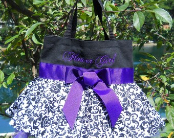 black tote bag, dance bag, Naptime 21, Embroidered Black MINI bag with Black and White Damask Skirt and purple tulle and ribbon MSTB51 - EST