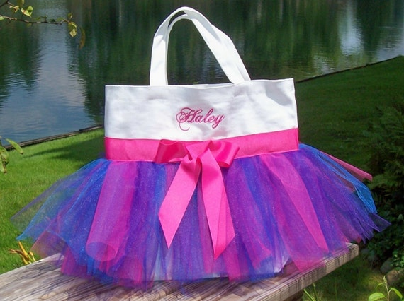 Naptime 21, tutu tote bag, tutu dance bag, tutu ballet bag, Embroidered Dance BagWhite Tote Bag with multi color tulle Tutu Tote Bag TB93 E