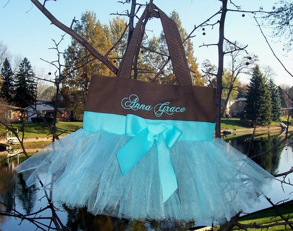 Embroidered Dance Bag - Brown Bag with Aqua Blue Tulle and Ribbon Tutu Tote Bag - TB289 - EST