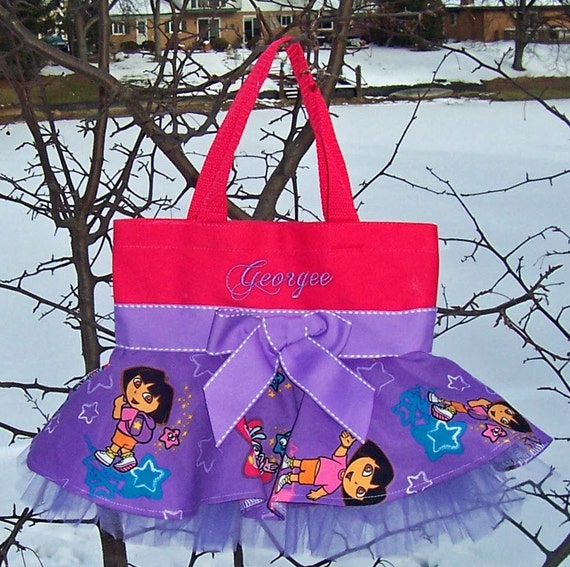 Special Listing for Denise Embroidered dance bag - Pink bag with Purple Dora Skirt MINI Tutu Tote Bag - SMTB9 - EST