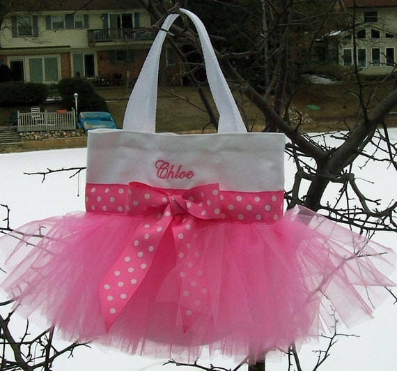 Embroidered Tote Bag - White Bag with Bright Pink Tulle and Bright Pink Polka Dot Ribbon MINI Tutu Tote Bag - MTB67 - R