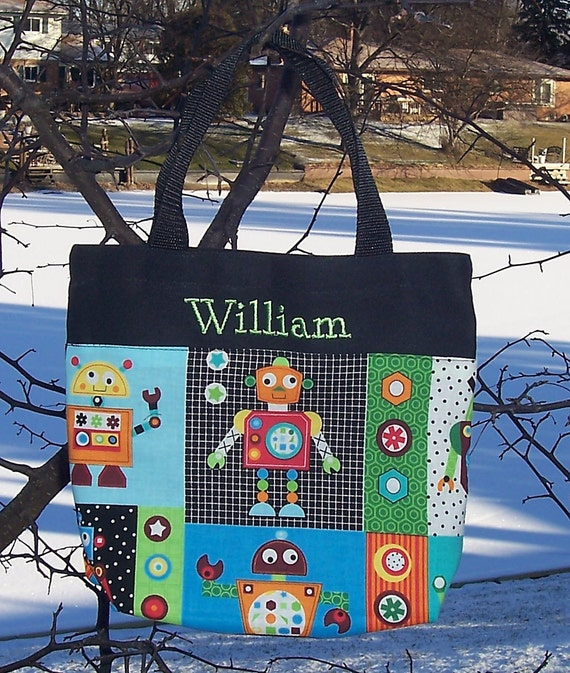 Embroidered tote bag, toy bag, personalized tote bag, kids tote bag,  Robot Canvas Tote bag (large) LBTB2 - RB