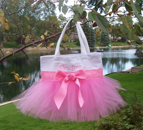 Dance bags, tutu tote bag, ballet bag - Embroidered Dance Bag - White Tote Bag with Pink Tulle and Ribbon Tutu Tote Bag - TB123 - F