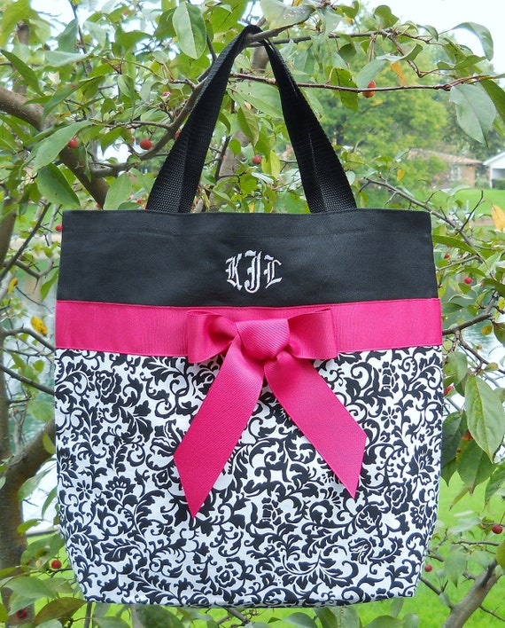 Gift tote, dance bag, ballet bag, Personalized tote bag, Black and White Damask Embroidered Bag with Hot Pink Ribbon Tote Bag TB589