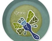 Custom Listing for Lori --Dragonfly and Monkey Personalized Melamine Plate