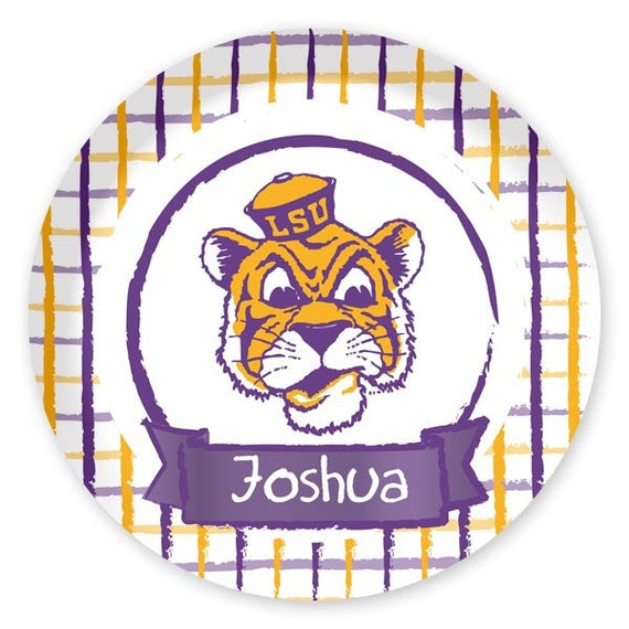 Personalized Plaid LSU Tigers  Melamine Plate