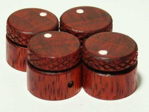 Set of 4 Knurled Padauk Guitar Knobs (7/8 inch diameter)