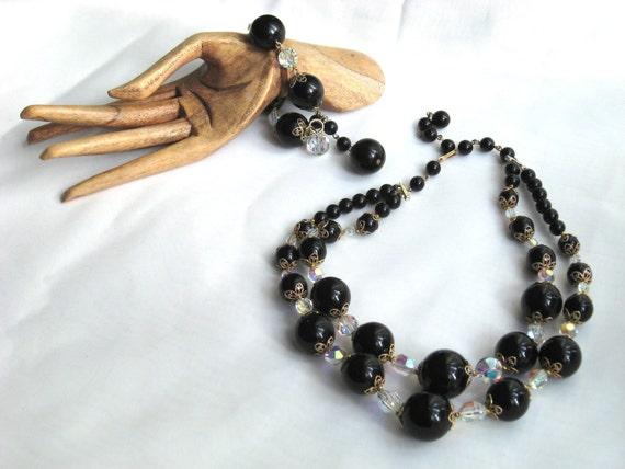 Necklace Bracelet Vtg Set Black Bead Faceted Glass Vintage Costume Jewelry