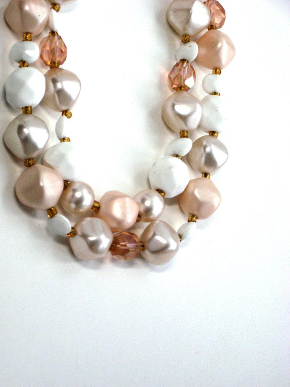 Vintage Double Strand Necklace Beige Amber Lucite Glass Bead Jewelry