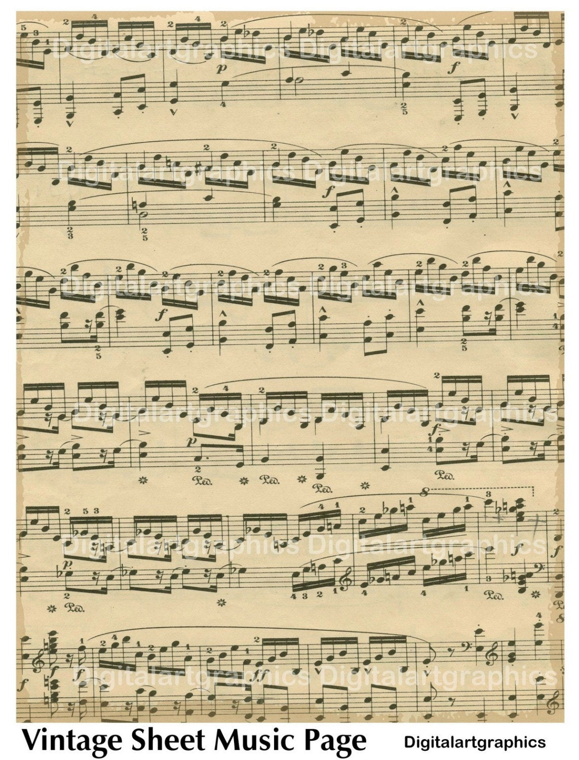 Monster image inside vintage sheet music printable