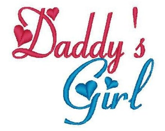 Daddy's Girl 4x4 5x7 Machine Embroidery Design Instant Download shirt bib blanket baby shower gift newborn daughter girl father dad