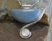 Moonstone, Angelite and Sterling Necklace