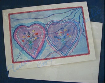 Valentine's Day--Valentine's Candy Card--hearts--blank inside--original print--free shipping US