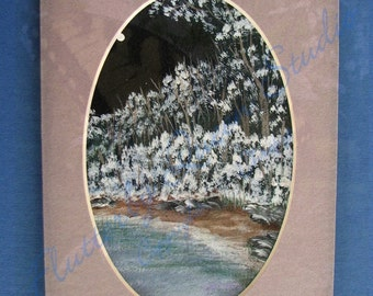 First Sign of Winter--original acrylic painting matted 5x7--Free Shipping USA