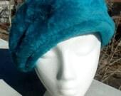 Vintage Faux Fur Blue Beret