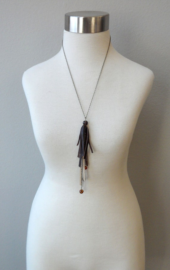 Leather and Chain Tassel Pendant